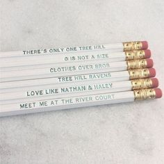 There's Only One Pencil Set Nathan Haley, Nathan Scott, Notting Hill Quotes, One Tree Hill Quotes, Custom Pencils, Red Band Society, Grey Anatomy Quotes, Brooke Davis, Tv Show Quotes