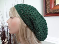 Forest Green Open Weave Slouch, Tam Hat, Snood, Beret. Great Summer Beach Hat. Teens, Men or Women can Wear This. by yarnnscents on Etsy