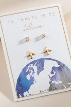 francesca's Travel Plane Stud Earring Set - Gold