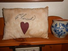 Hey, I found this really awesome Etsy listing at https://www.etsy.com/listing/163135963/prim-cherish-pillow-primitive-pillow