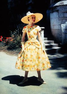 Audrey Hepburn, in an unusually colorful dress.