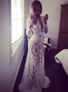 White Lace Dress Vintage Night Robe Gown