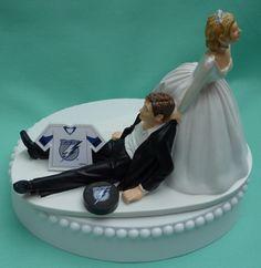 Wedding Cake Topper - Tampa Bay Lightning Hockey Themed Jersey