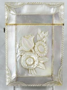 Antique Mother of Pearl Calling Card Case with Carved Flowers and Edges | eBay