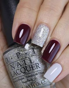 white, silver and wine red nails