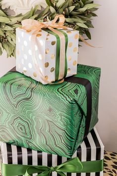 Green, gold, black - stripe, malachite, gold polka dots, modern mix.