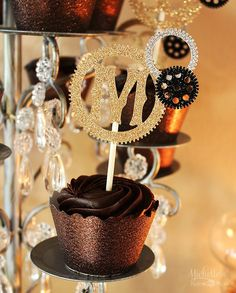 Steampunk Cupcake Toppers by Pink Poppy Party Shoppe