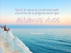 """""""Sentir el #Viento en la cara sentado a la orilla de la #Playa es sentir que estamos vivos"""". @candidman #Frases #Reflexion"""
