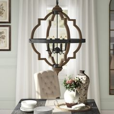 Birch Lane™ Heritage Bennington 4 - Light Lantern Geometric Chandelier Finish: Stardust, Bulb Type: Not Included Farmhouse Lighting, Candle Styling, Candle Style Chandelier, Chandelier Style, Light Fixtures, Geometric Chandelier, Candlelight, Lantern Lights, Globe Lights