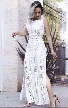 vestido longo rendado fenda trico babado crochet  verao 2017