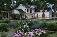 This gorgeous country farmhouse was renovated by Crisp Architects, nestled in the village of Millbrook, New York. Minnesota Home, Farmhouse Landscaping, Garden Landscaping, Farmhouse Renovation, Country Farmhouse, Farmhouse Addition, Country Roads, Urban Farmhouse, Country Living