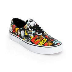 The Vans x Star Wars Era shoes are full of colorful Star Wars characters in a bright repeating patter on a comfortable vulcanized construction.