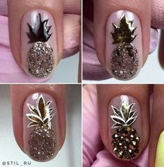 Outstanding Nail Art Tutorials Ideas That Youll - flower nail designs - Diy Nails, Cute Nails, Pretty Nails, Flower Nail Designs, Nail Art Designs, Nails Design, Diy Ongles, Pineapple Nails, Pineapple Nail Design