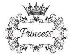 Princess with Crown Vintage Large Image Word by FoxyCoutureDesigns, $1.00