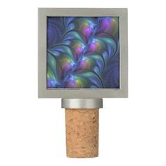 Colorful Luminous Abstract Blue Pink Green Fractal Wine Stopper