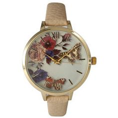 Olivia Pratt Womens Gold-Tone Butterfly and Flowers Print Dial with Beige Leather Strap Watch 14962