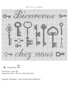 Cross stitch pattern, keys.