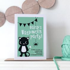 "Personalised Halloween Invites. "" Made just for you, these Halloween party invites feature a cute black cat and friendly spider. The invitations come with a smart Flecked Kraft recycled envelope in a cellophane sleeve. Choose to add matching name badges - perfect for party bags or pinning to bags when you go trick or treating!"""