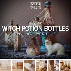 Halloween DIY: Witch Potion Bottles + Blue Patina Stand