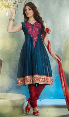 3ca39e56d6c39a Steel Blue Chanderi Anarkali Churidar Dress  salwarkameez-style  cotton-salwarkameez  Price