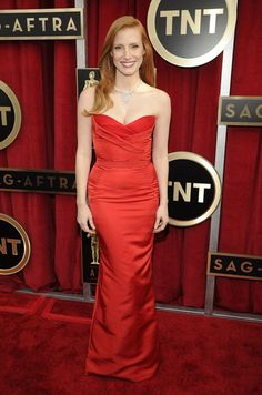Jessica Chastain SAG Awards - red hot McQueen.  Love the neckline!  To see more inspiration, click here: http://blog.mangomuseevents.com/2013/01/31/wedding-fashion-inspiration-from-the-sag-awards/