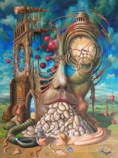 Surrealism and Visionary art Painting by Jarosław Jaśnikowski Salvador Dali Kunst, Art Visionnaire, Street Art, Illustration Photo, Art Sculpture, Surrealism Painting, Painting Art, Art Paintings, Galaxy Painting