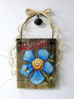 Blue Flower Welcome Sign, Hand Painted on Reclaimed Barn Wood, Welcome Sign, Blue Flowers, Reclaimed Barn Wood, Tole Painted, Hanging Sign by barbsheartstrokes on Etsy