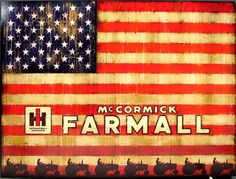 """Wood plaque with American flag and farmall tractors. Great americana and nostalgic farming decorator item. Measures: 20"""" X 15 3/4"""" x 1"""""""