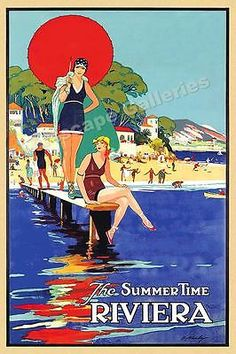 1930-The-Summer-Time-Riviera-Vintage-Style-Travel-Poster-16x24