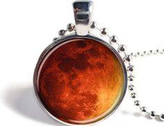 Blood Moon Pendant, Red Moon Necklace, Space Jewelry, Astronomy Necklace, Moon Jewelry, Eclipse Pendant, Space Pendant, Full Moon Keychain