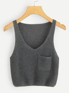 crochet tank tops China Factory Cheaper Price Casual Style Pocket Patch V-Neck Women Sweater Knit Tank Top Débardeurs Au Crochet, Pull Crochet, Mode Crochet, Crochet Tank Tops, Knitted Tank Top, Knit Tops, Crochet Clothes, Diy Clothes, Look Fashion