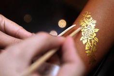 Gold henna on pinterest white henna gold tattoo and for White henna tattoo ink