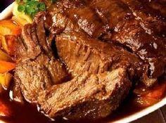 3 Envelope Roast Recipe 3 lbs beef or pork roast 1 pkg dry italian seasoning 1 pkg dry ranch seasoning 1 pkg dry brown gravy mix 1 cup water Roast in crockpot for 4 hours on high or 8 hours on low. (Half seasonings if desired)