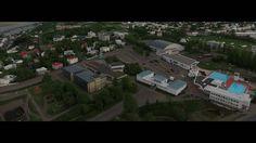 Akureyri - Capital of the north Iceland - city drone flight