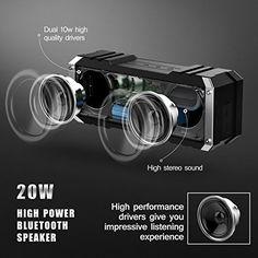 Vtin 20W Altavoz Bocina Bluetooth Inalámbrico, Sonido Estéreo, Premium Dual-Drivers, Radiador Pasivo, Conexión AUX - color Negro: Amazon.com.mx: Electrónicos