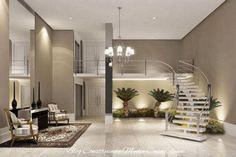 30 Salas de Estar Decoradas com Escadas em Curva! Maravilhosas!