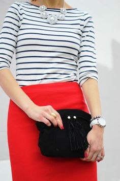 Red skirt + striped top