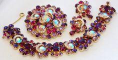 Kramer Bracelet Earring Brooch Rhinestone Parure