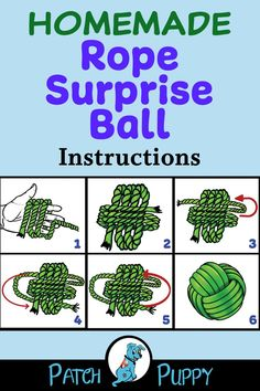 "Instructions: Homemade Rope Surprise Ball – Toy for Dogs. Learn how to make this awesome monkey fist ball dog toy that you can hide treats in! Just visit our post ""Rope Ball Surprise Dog Toy"" for the free step by step instructions. Surprised Dog, Homemade Dog Toys, Best Dog Toys, Diy Toys For Dogs, Diy Dog Toys Rope, Crafts For Dogs, Diy Puppy Toys, Dog Steps, Toy Puppies"