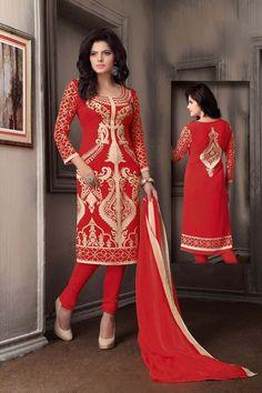 Red Crepe Printed Churidar Suit 70469