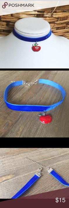 "Snow White Inspired Blue Velvet Choker Necklace ॐ.  Royal Blue velvet choker with an apple charm.   Handcrafted Snow White inspired Choker   Measurements: 12"" + 2"" Width: 3/8""  Thank you for stopping by!   If you need a custom size, please feel free to contact me. Jewelry Necklaces"