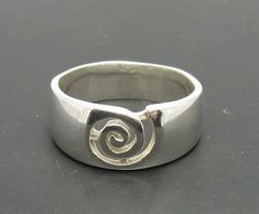 Sterling Silver Ring Spiral Band Solid 925 Empress R000216