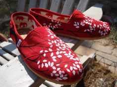 Branching out in red painted on TOMS shoes-made to order