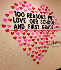 100 REASONS WE LOVE OUR SCHOOL AND FIRST GRADE (Classroom bulletin-board, Catholic