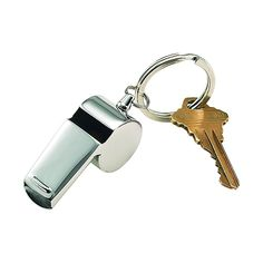"Our coach's style key chain whistle is perfect for use on the field or as an everyday safety feature. The brightly polished stainless steel whistle has a non-tarnish finish. Overall dimensions are 2"" x 1"" x.75"". Gift boxed"