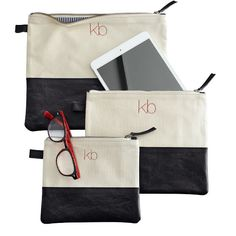 Modern Zip Pouch by Mark & Graham, Natural with Black Leather in sizes Small, Medium and Large