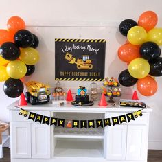 Construction Party Decorations, Construction Birthday Parties, Construction Birthday Invitations, Construction Theme, Birthday Backdrop, Birthday Balloons, Birthday Party Decorations, Digger Birthday Parties, 4th Birthday