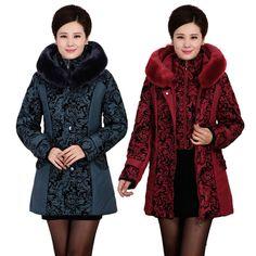 2016 Marca chaqueta de invierno mujeres Espesar Caliente de Algodón acolchado de Mediana Edad Delgado Hembra Más El Tamaño de Cuello de Piel Abrigo de invierno de Las Mujeres Parka