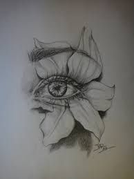 flower eye pencil drawing