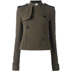 Haider Ackermann double breasted cropped jacket (125.185 RUB) ❤ liked on Polyvore featuring outerwear, jackets, green, cropped jacket, brown cropped jacket, haider ackermann, brown jacket and double breasted jacket